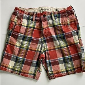 ABERCROMBIE & FITCH Button Fly Plaid Shorts